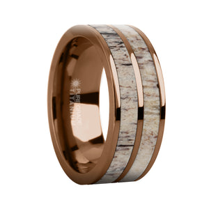 Naturally Harvested Deer Antler Inlay Brown Titanium Wedding Ring
