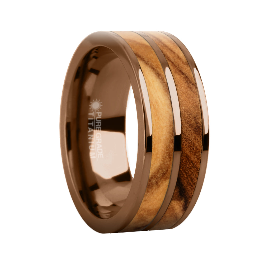 Genuine Olive Wood Twin Inlay Brown Titanium Wedding Ring for Men