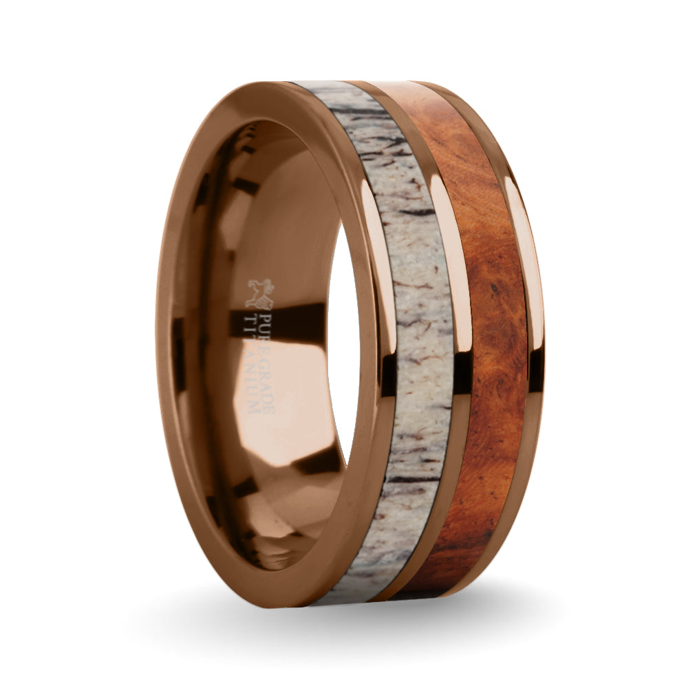 Rosewood Burl, Deer Antler Inlay Brown Titanium Wedding Ring