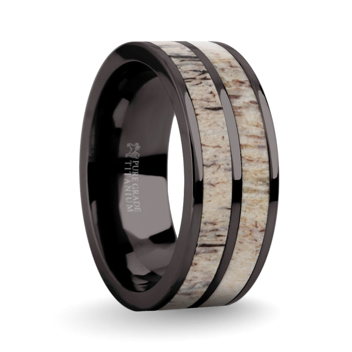 Real Deer Antler Inlay Gunmetal Gray Titanium Wedding Ring