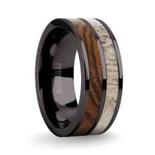 Load image into Gallery viewer, Exotic Bocote Wood Antler Inlay Gunmetal Titanium Wedding Ring