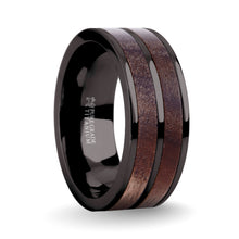 Load image into Gallery viewer, Exotic Dark Walnut Wood Twin Inlay Gunmetal Titanium Wedding Ring