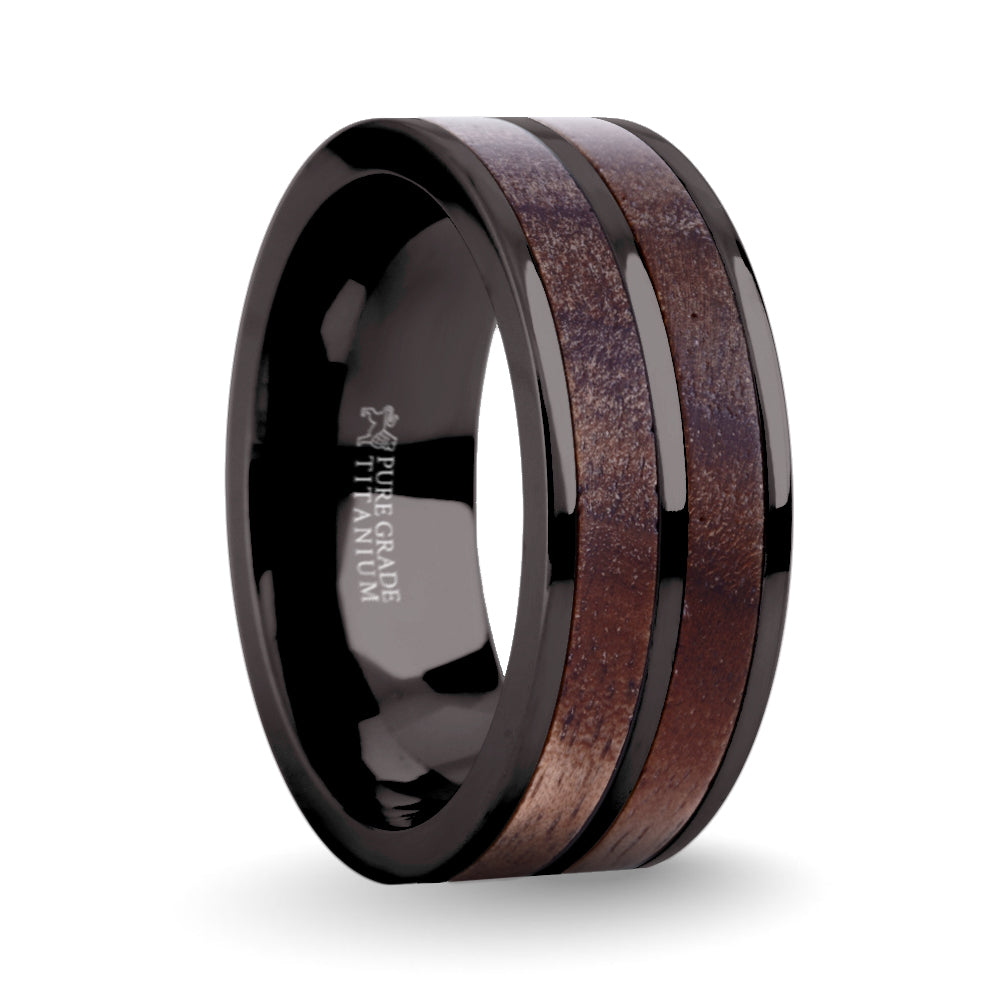 Exotic Dark Walnut Wood Twin Inlay Gunmetal Titanium Wedding Ring