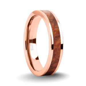 Elegant Rosewood Burl Wood Inlay Rose Gold Titanium Wedding Ring