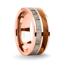 Load image into Gallery viewer, Olive Wood, Real Antler Inlay Rose Gold Titanium Wedding Ring