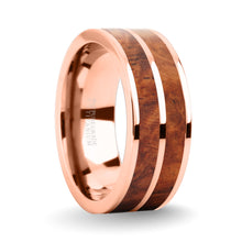 Load image into Gallery viewer, Elegant Rosewood Burl Wood Inlay Rose Gold Titanium Wedding Ring