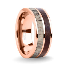 Load image into Gallery viewer, Walnut Wood, Deer Antler Inlay Rose Gold Titanium Wedding Band