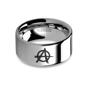 Anarchy Symbol Laser Engraved Tungsten Carbide Ring