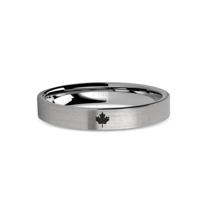 Canada Maple Leaf Laser Engraved Tungsten Wedding Band, Brushed