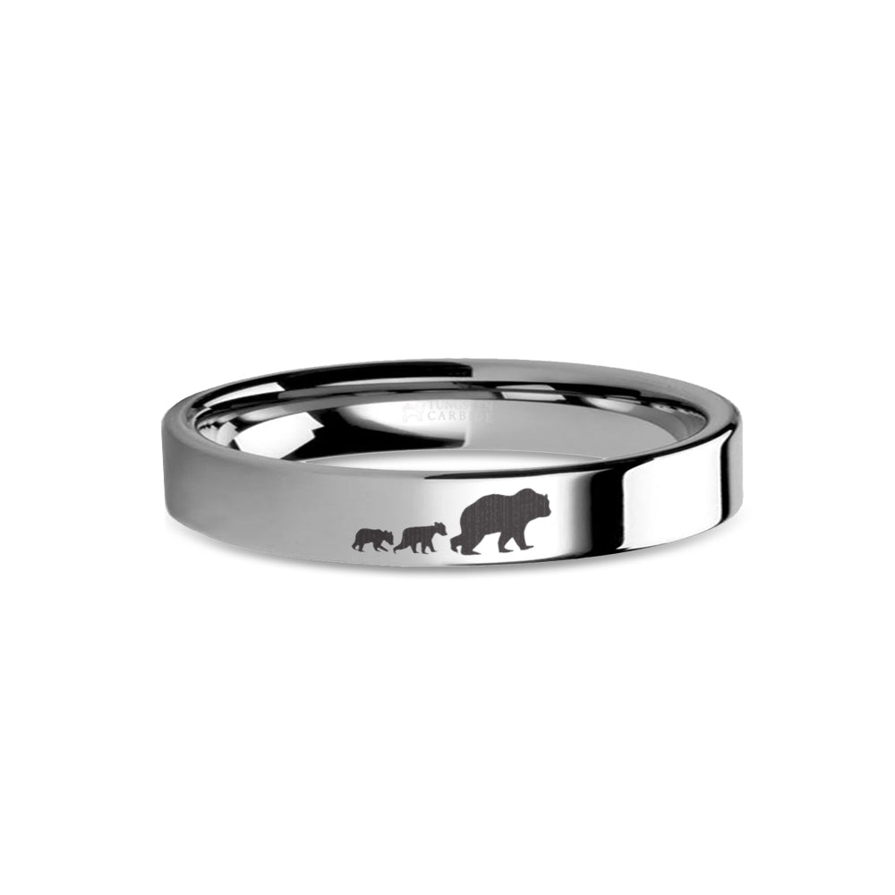 Mama Bear Cubs Laser Engraved Tungsten Wedding Band, Polished