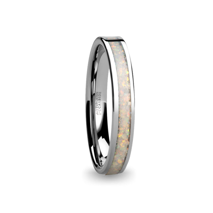 Fire Ice White Opal Inlay Silver Tungsten Wedding Carbide Ring