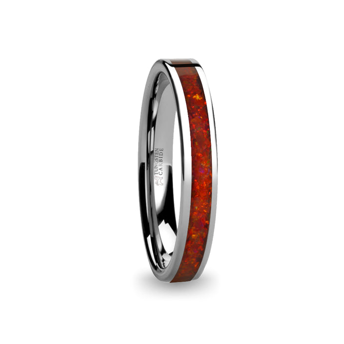 Deep Ruby Red Opal Inlay Silver Tungsten Wedding Carbide Ring
