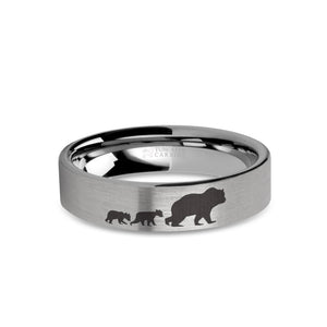 Mama Bear Cubs Laser Engraved Tungsten Wedding Band, Brushed