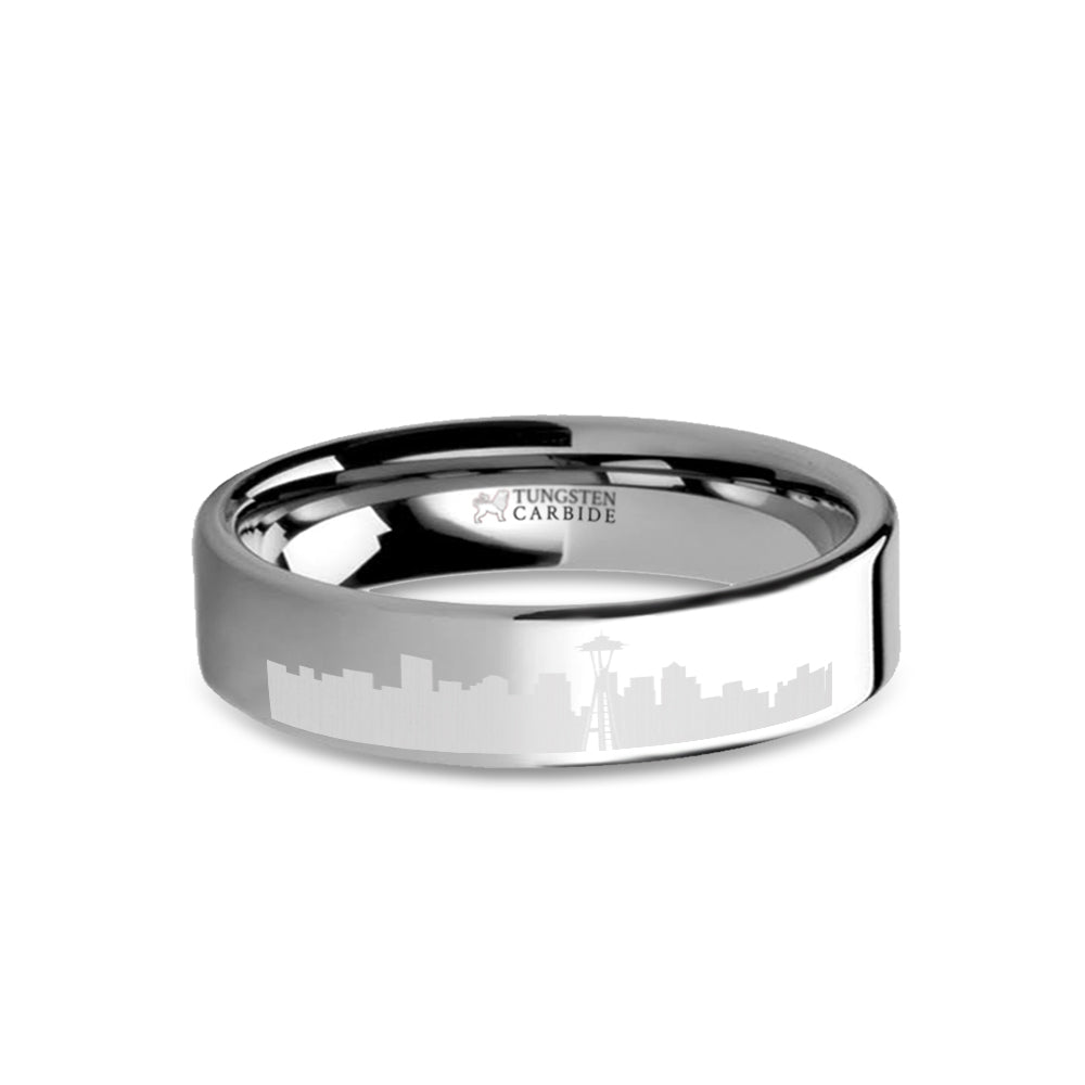 Seattle City Skyline Cityscape Laser Engraved Tungsten Ring