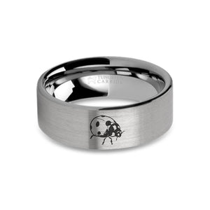 Ladybug Insect Laser Engraved Tungsten Wedding Ring, Brushed