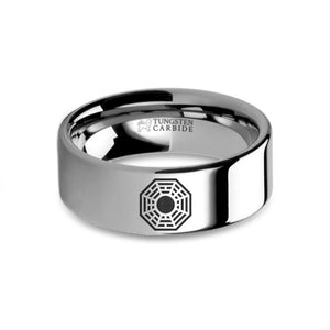 Lost DHARMA Initiative Logo Symbol Engraved Tungsten Ring