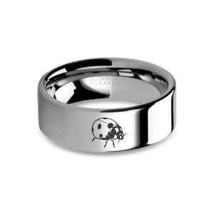 Ladybug Insect Laser Engraved Tungsten Wedding Ring, Polished