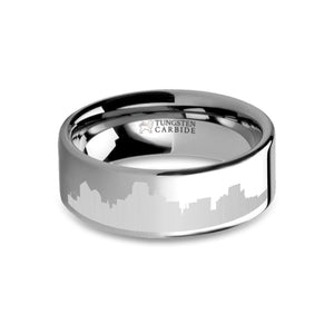 Dallas City Skyline Cityscape Laser Engraved Tungsten Ring