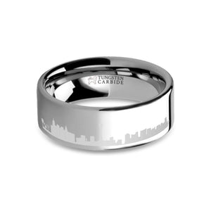 Las Vegas City Skyline Cityscape Laser Engraved Tungsten Ring
