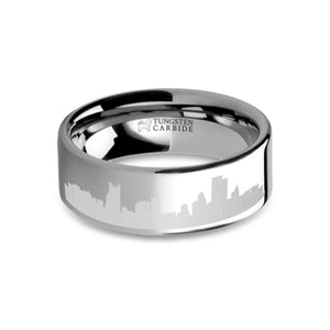 Pittsburgh City Skyline Cityscape Laser Engraved Tungsten Ring