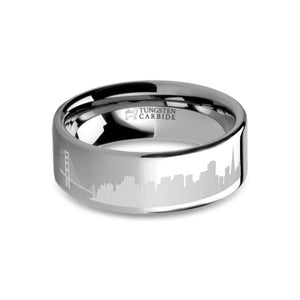 San Francisco City Skyline Cityscape Engraved Tungsten Ring