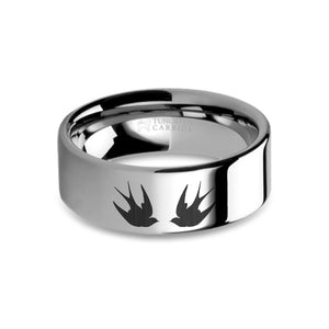 Swallows Birds Laser Engraved Tungsten Wedding Ring, Polished