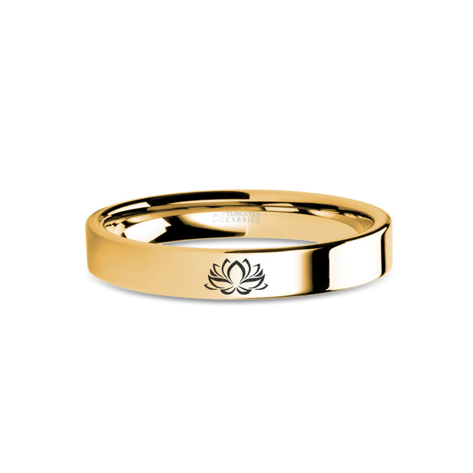 Lotus Flower Zen Engraved Yellow Gold Tungsten Ring, Polished