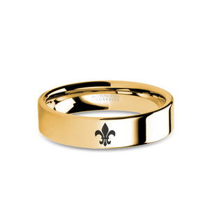 Fleur de Lis Symbol Laser Engraved Gold Tungsten Wedding Ring