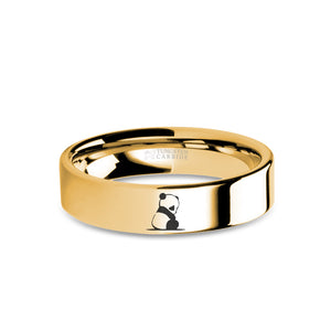 Baby Panda Cub Yellow Gold Tungsten Wedding Band, Polished