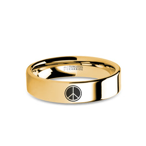 Peace Sign Symbol Laser Engraving Gold Tungsten Wedding Band