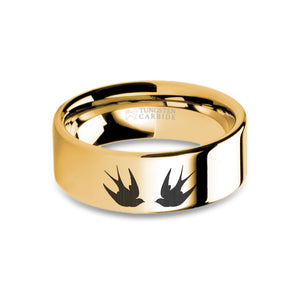 Swallows Engraved Yellow Gold Tungsten Wedding Band, Polished