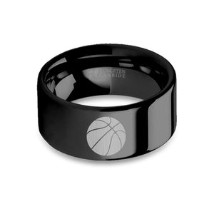 Basketball Sports Laser Engraved Black Tungsten Wedding Band