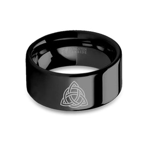 Triquetra Celtic Triangle Knot Laser Engraved Black Tungsten Ring