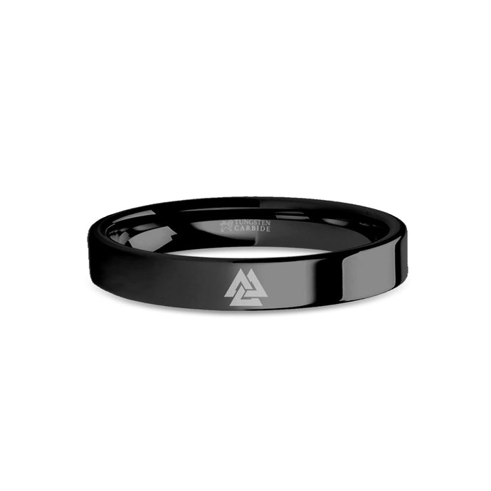 Viking Valknut Triquetra Knot Symbol Engraved Black Tungsten Ring