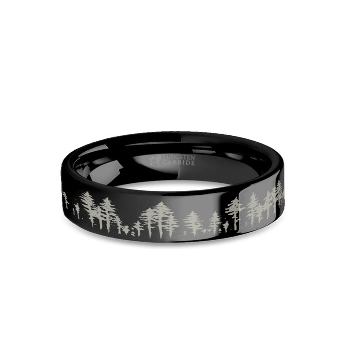 Outdoors Forest Tree Line Landscape Engraved Black Tungsten Ring
