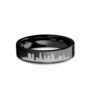 Los Angeles City Skyline Cityscape Engraved Black Tungsten Ring
