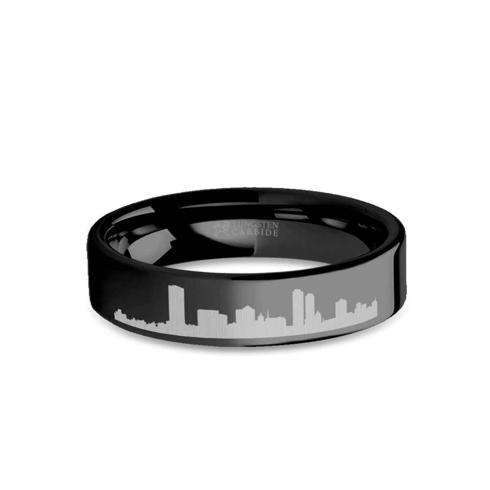 Milwaukee City Skyline Cityscape Engraved Black Tungsten Ring