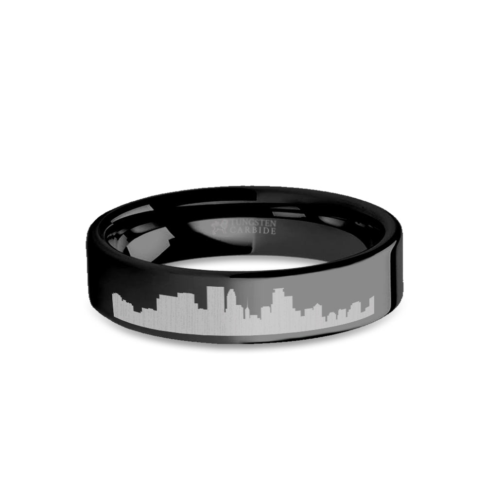 Minneapolis City Skyline Cityscape Engraved Black Tungsten Ring