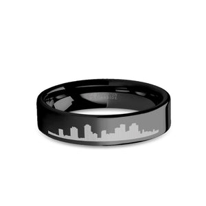 New Orleans City Skyline Cityscape Engraved Black Tungsten Ring