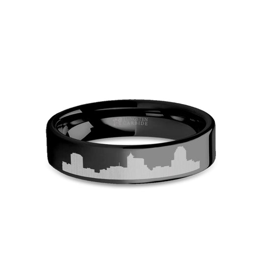 Raleigh City Skyline Cityscape Engraved Black Tungsten Ring COPY