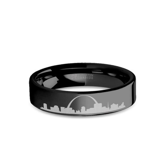 St Louis City Skyline Cityscape Engraved Black Tungsten Ring