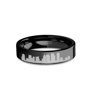 Tampa City Skyline Cityscape Engraved Black Tungsten Ring