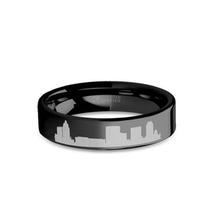 Tulsa City Skyline Cityscape Engraved Black Tungsten Ring