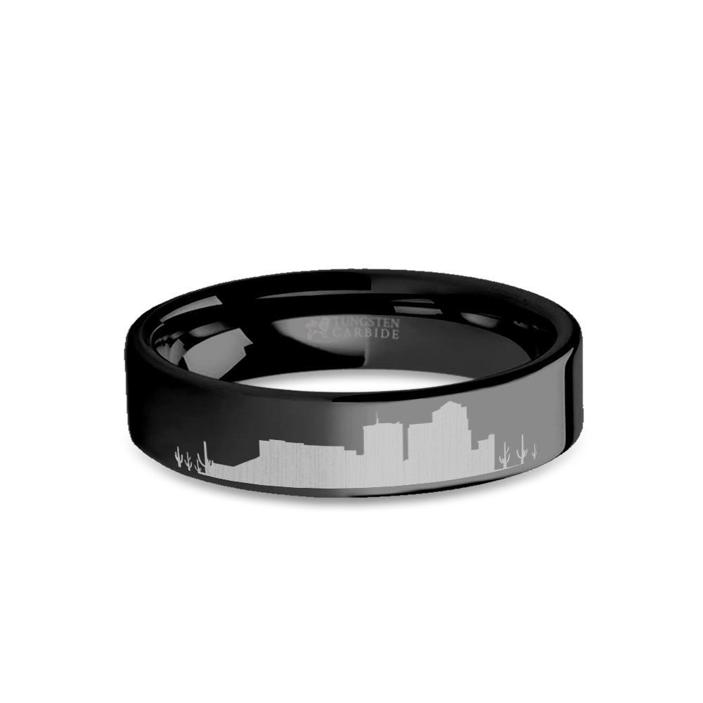 Tuscon City Skyline Cityscape Engraved Black Tungsten Ring