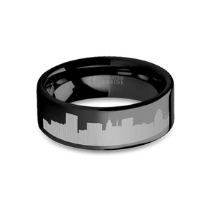 Baltimore City Skyline Cityscape Engraved Black Tungsten Ring