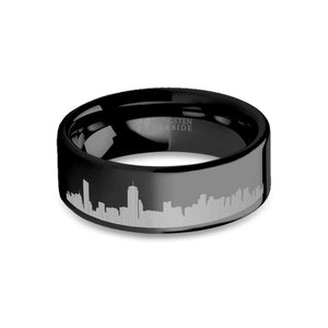 Boston City Skyline Cityscape Laser Engraved Black Tungsten Ring