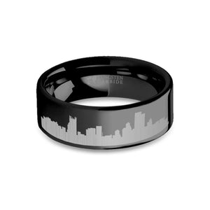 Pittsburgh City Skyline Cityscape Engraved Black Tungsten Ring