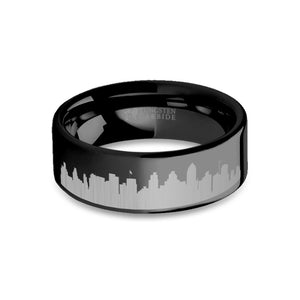 San Diego City Skyline Cityscape Engraved Black Tungsten Ring