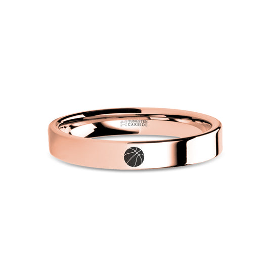 Basketball Laser Engraved Rose Gold Tungsten Wedding Band
