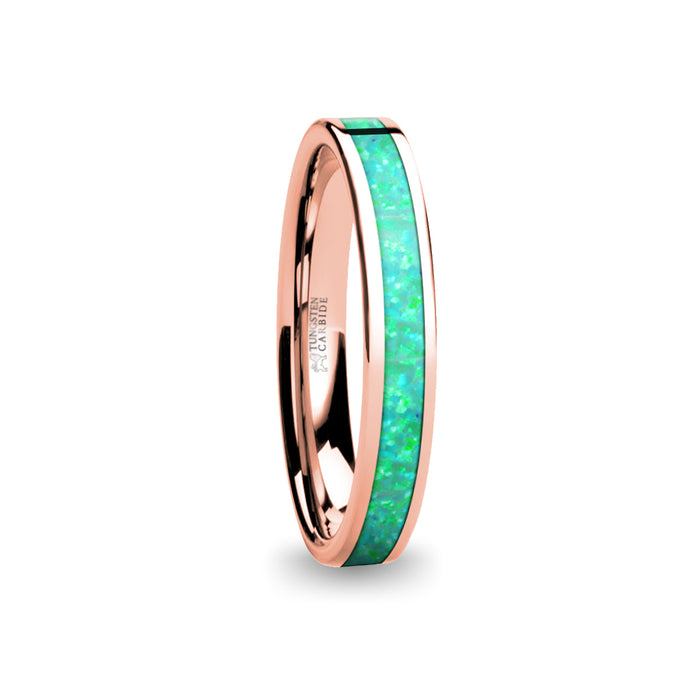 Turquoise Green Opal Inlay Women's Rose Gold Tungsten Ring